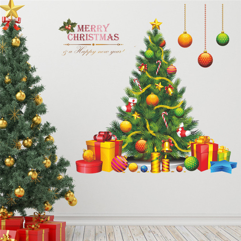 % Christmas Tree Gift Wall Sticker Decals Window Party Store Office Decoration New Year Home Decor Poster Mural wallpaper