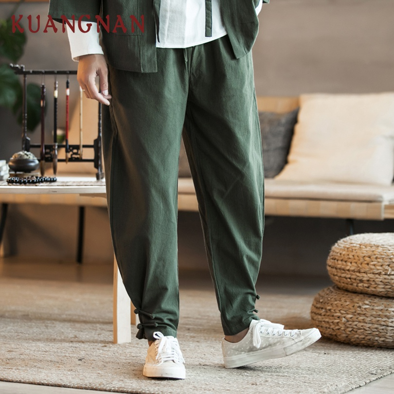 KUANGNAN Cotton Pants Men Jogger Japanese Streetwear Chinese-Style Trousers Men Hip-Hop