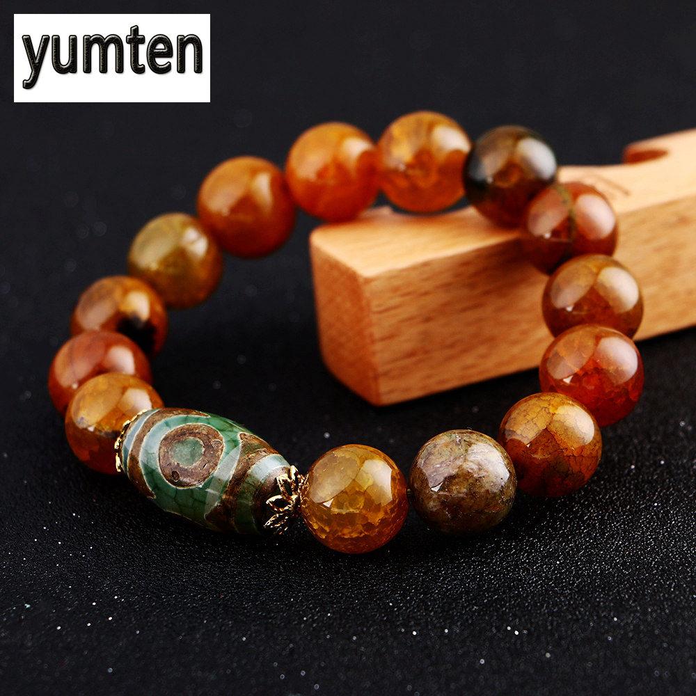 Yumten Natural Agate Onyx Agate Bracelets Jewelry Natural Stone Topaz Bracelet For Women Men Crystal Round Shape 8/10/12 /14mm charming glaze tube shape bracelet for men