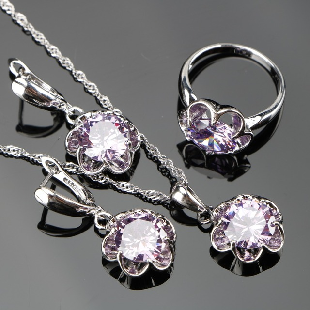 2018 New Round Purple Zircon Silver 925 Costume Bridal Jewelry Sets Pendant Neck