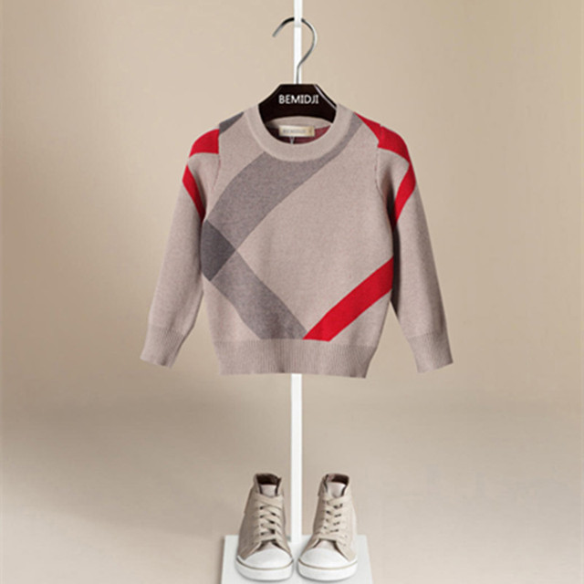Осень и зима детский свитер 2016 мальчиков О-Образным Вырезом свитер Люксовый бренд 1-5 Т Малышей мальчики теплая свитер