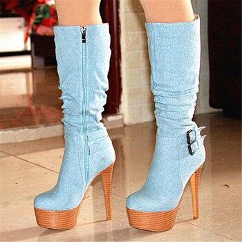 SHOFOO shoes, elegant and stylish free shipping, light blue denim fabric, fold decoration, 14.5 cm high heel boots, knee high bo