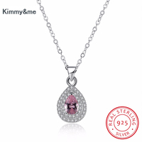 100% Real 925 Sterling Silver Crystal Water Drop Pendant Necklace Women Link Chain Necklaces & Pendants Vintage Collane Kolye