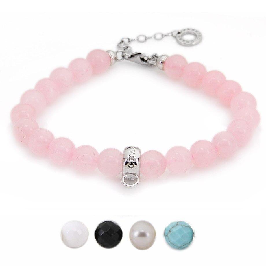 Купить женский браслет с жемчужинами thomas розовый кварцевый кристалл