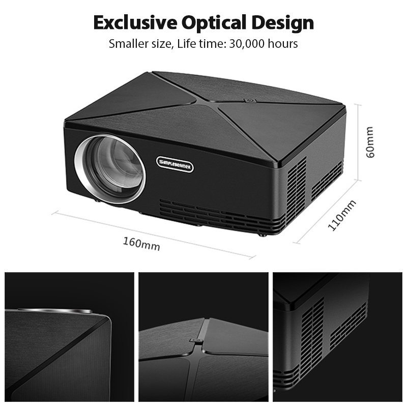AUN C80 HD MINI Projektor, 1280x720 P, Video Beamer, 3D Projektor. Unterstützung 1080 P, HD IN, USB, (Optional C80 UP Android version WiFi) - 3