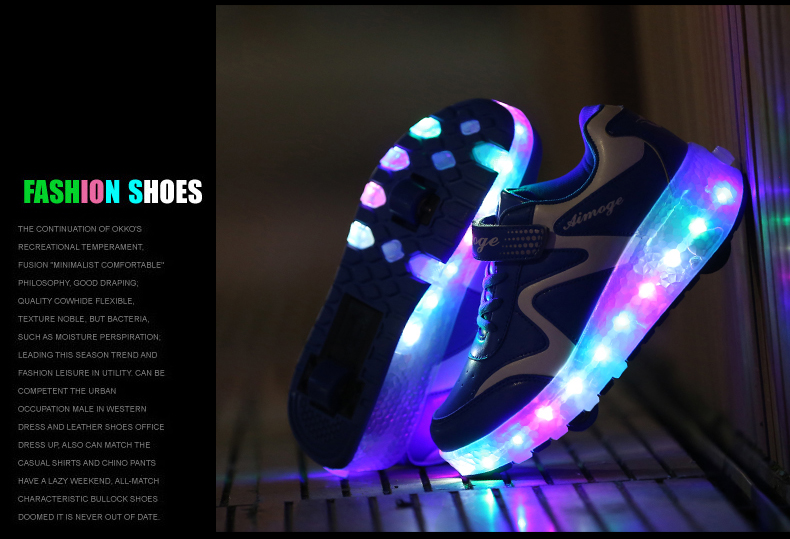 New Popular Kids Glowing Sneakers With Wheels Children Led Shoes Boys Girls Light Up Roller Skate Shoes Stars tenis de rodinha5