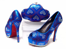 2016 New African shoe and bag set for party italian shoe with Royal Blue matching bag