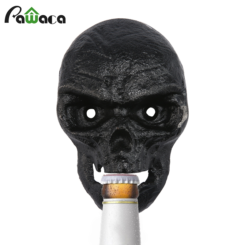 Wall Bottle Opener Skull Shaped Beer Opener Wall Mounted Bottle Opener With 2pcs Screw Kitchen Tool Home Bar Wall Decorative