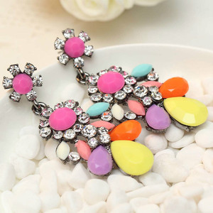 Women's fashion flower earrings New arrival brand sweet metal with gems crystal earring for women girls E308~9(China)