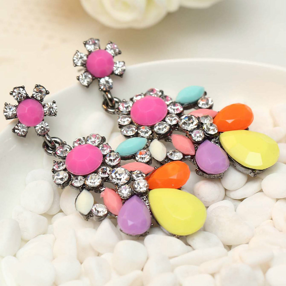 Women's Fashion Flower Earrings New Arrival Brand Sweet Metal With Gems Crystal Earring For Women Girls E308~9