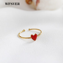 WFSVER women 925 sterling silver fashion ring gold color korea style heart-shaped rings opening adjustable fine jewelry gift wfsver women gold color 925 sterling silver simple ring korea style with pearl rings opening adjustable fine jewelry gift