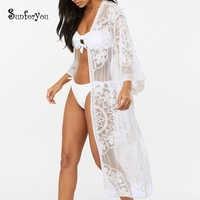 Vestido Casual de Playa de malla bordado blanco negro para mujer vestido de vacaciones de verano Sexy Vestidos Sarong Pareo Playa vestido de mujer de encaje