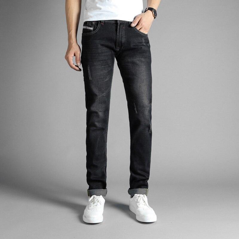 Black Color Fashion Slim Fit Mens Jeans Elastic Cotton Hip Hop Jeans Punk Pants Brand Classical Jeans Men Stretch Trousers
