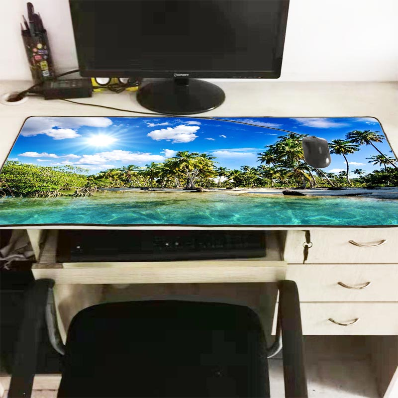 Mairuige Palm Trees Beach Blue Sky Clouds Large Mouse Pad Gaming Mousepad Natural Rubber Gaming Mouse Mat with Lock Edge 90X40CM 1