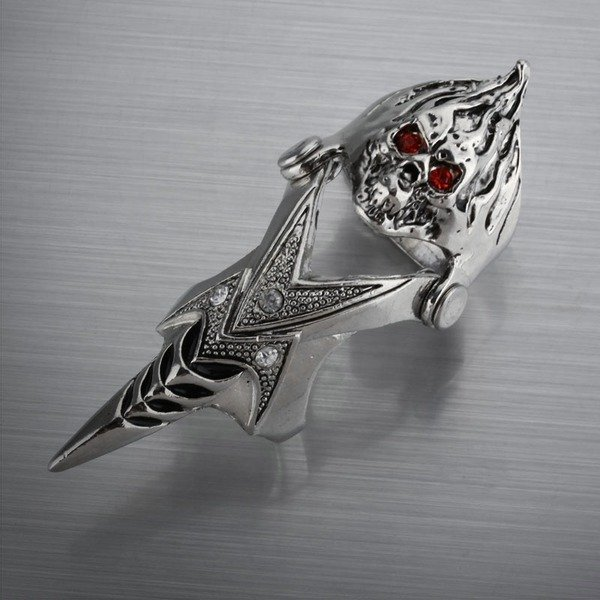 Free Shipping Mens Jewelry Pewter Rhinestone Gothic Jewelry Skull