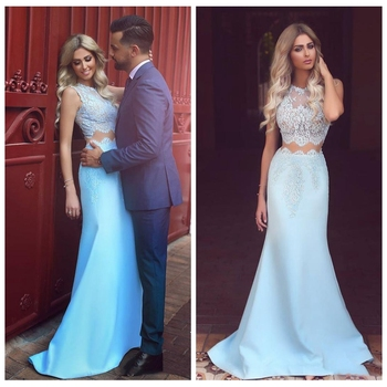 Beautiful Mermaid Prom Dresses Two Piece Lace Women Formal Party Dress Sleeveless Cheap Sale Elegant Middle East Vestidos Long