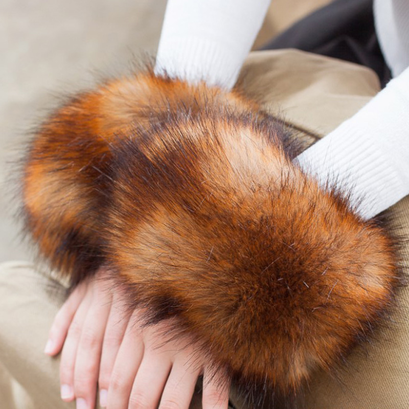 Fashion Lady Accessories Apparel Warmers False Cuff Pure Dream Fake Cuffs Oversized Fox Hair Fur Cuff Hair Bracelet Wrist Hand