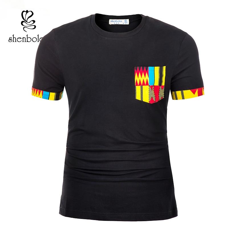 Shenbolen African Traditional Clothing for Men T Shirt Classic Bazin Riche Dashiki Tops Summer Big Size Man Print Blouses