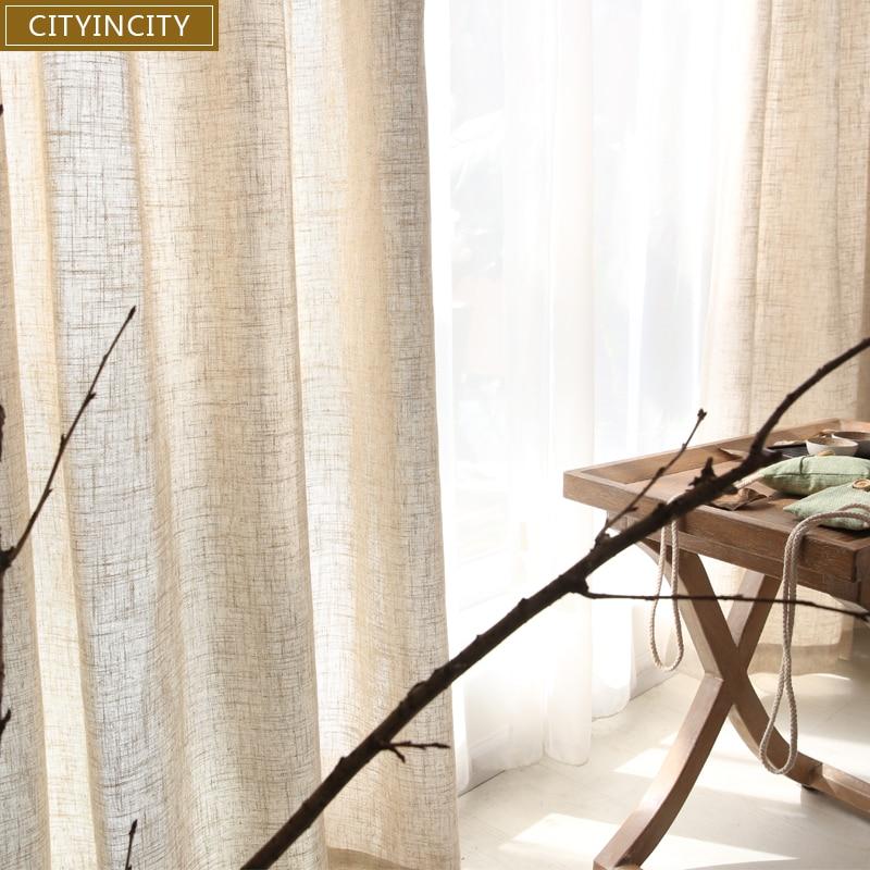CITYINCITY Tulle Gardiner för vardagsrum Moderna fasta Japan Faux Linen Fönster gardin För sovrum Rideaux Skräddarsydda färdiga