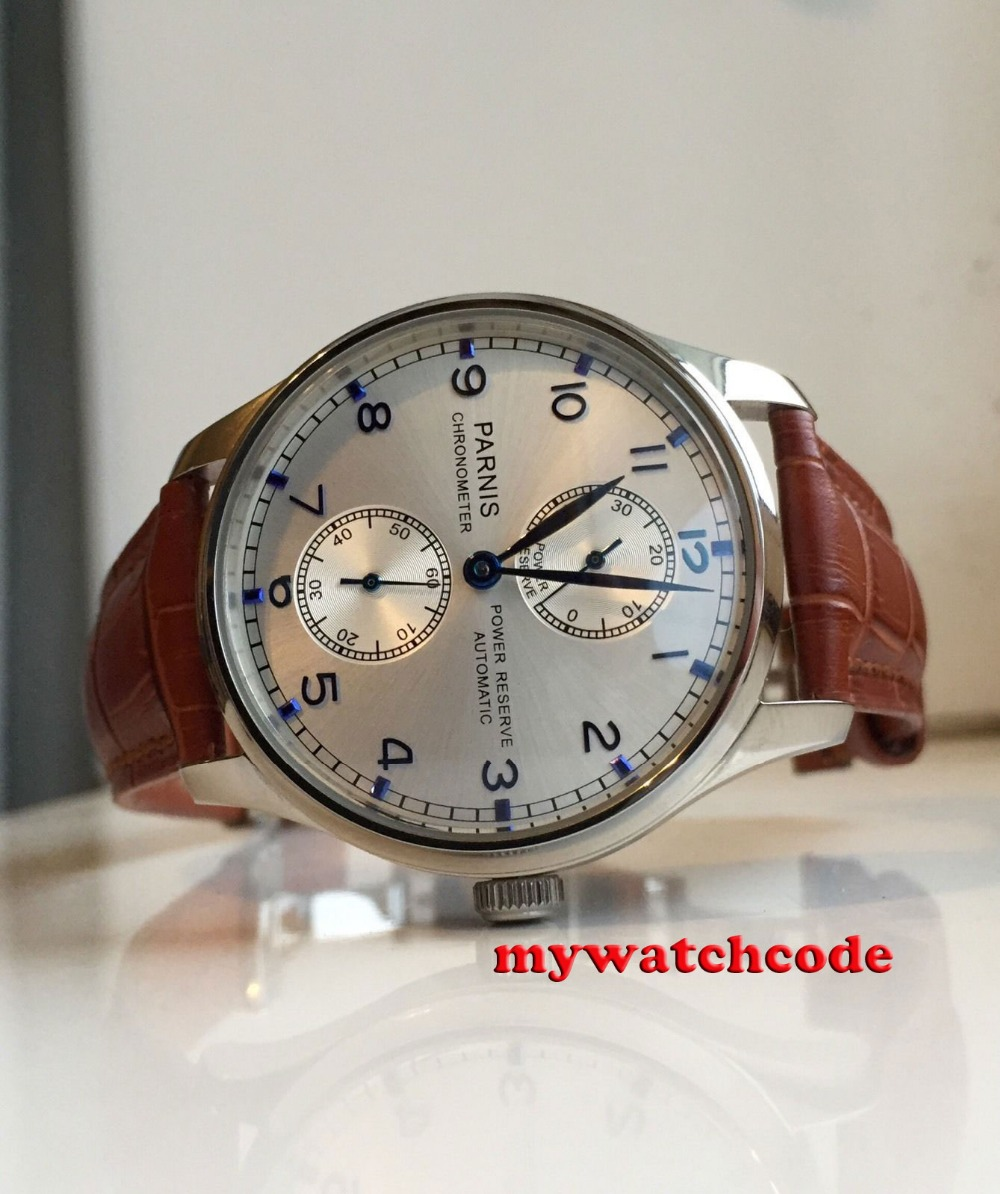 43mm parnis silver dial blue marks brown leather strap power reserve ST2542 automatic movement mens watch P99C цена и фото