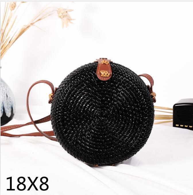 Woven Rattan Bag Round Straw Shoulder Bag Small Beach HandBags Women Summer Hollow Handmade Messenger Crossbody Bags 25