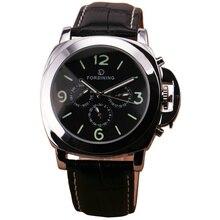 Clásicos calientes de Los Hombres de Múltiples funciones Reloj Mecánico Automático 6 Manos 3 Sub-marca Conciso Dial de Cuero Negro correa montre homme