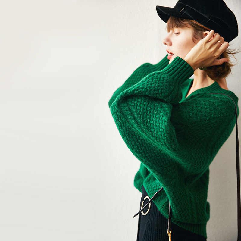 여성 스웨터 2019 새로운 봄 패션 캐주얼 솔리드 v-목 스웨터 따뜻한 빈티지 느슨한 긴 소매 니트 풀오버 스웨터