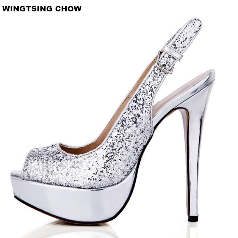Glitter Summer Open Toe Shoes Women Sandals With Heel Sexy Platform Shoes Dress Silver Pumps 14cm Fashion Wedding Shoes free shipping 2017 europe summer new platform fashion pumps wome ol shoes heel 14cm