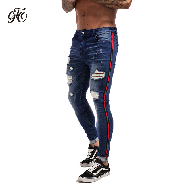 b34226db2b23 Gingtto Zerrissene Jeans Für Männer Hip Hop Super Dünne Männer Jeans  Stretch Blau Jeans Designer Marke