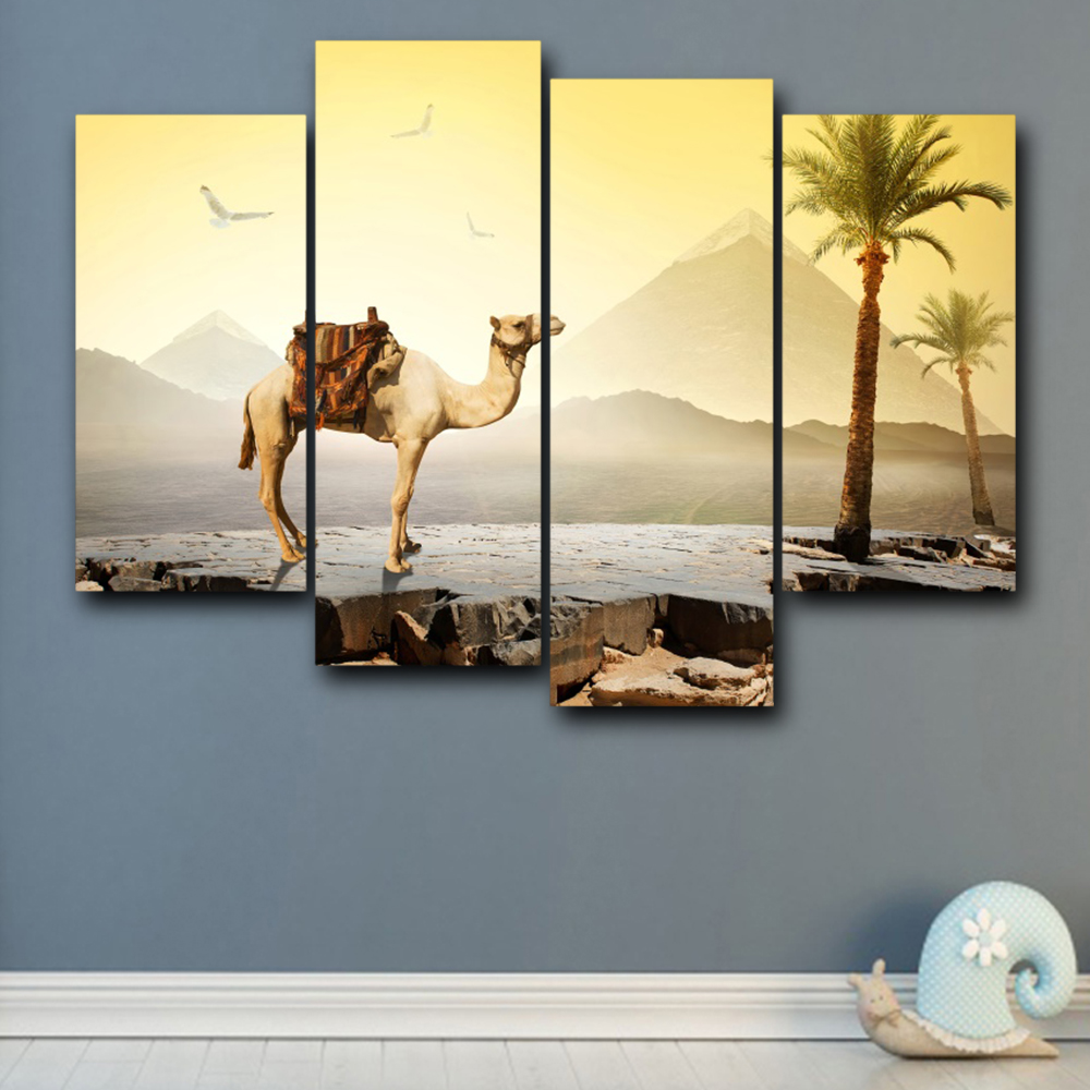 Vintage Abstract Canvas Palm Tree Mountain Animal Posters and Prints Wall Art Retro For Home Living Room Decoration in Painting Calligraphy from Home Garden