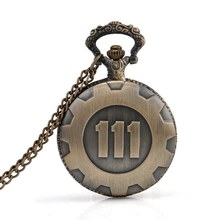 Купить с кэшбэком Bronze Pocket Watch Fallout 4 Vault 111 Electronic Games Necklace Chain Pendant