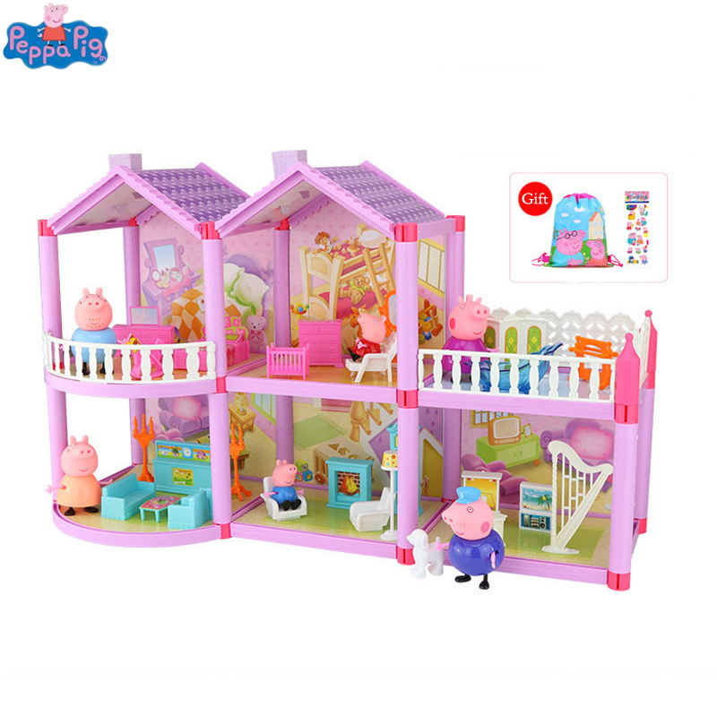 Genuine Peppa Pig DIY Toy Doll House Holiday Villa Model Action Figure Dolls Anime Figure Toys