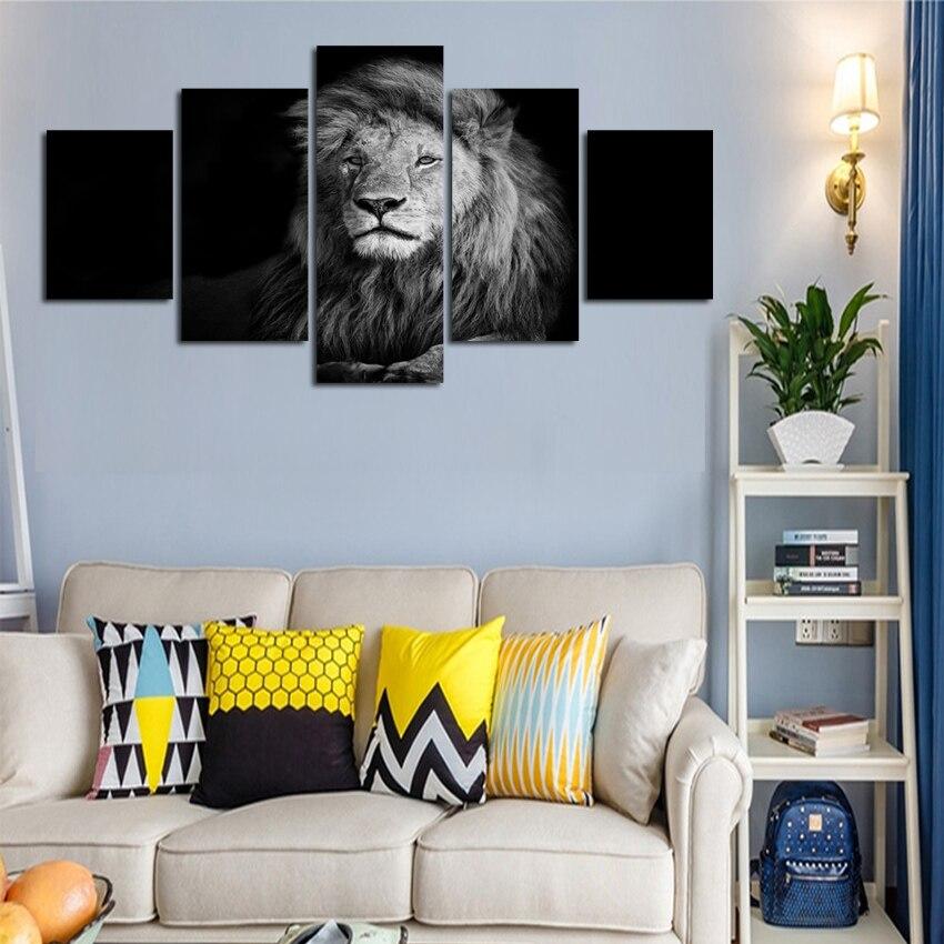 In bianco e nero effetto leone animale immagine pittura su tela per ...