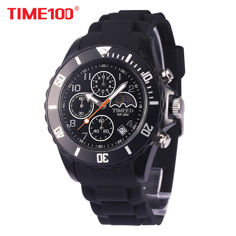 New Time100 Fashion Men's Moon Phase Outdoor Sport Quartz Watch Three Subdial Black Rubber Strap Casual Wrist Watches For Men saimi skdh145 12 145a 1200v brand new original three phase controlled rectifier bridge module
