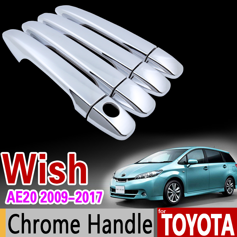 For Toyota WISH 2009 - 2017 AE20 Chrome Handle Cover Trim Set 2011 2012 2013 2014 2015 2016 Car Accessories Stickers Car Styling