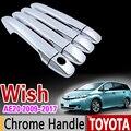 Набор хромированных насадок для Toyota WISH 2009-2017 AE20  Набор насадок для хромированной ручки 2011 2012 2013 2014 2015 2016  автомобильные аксессуары  наклейки ...