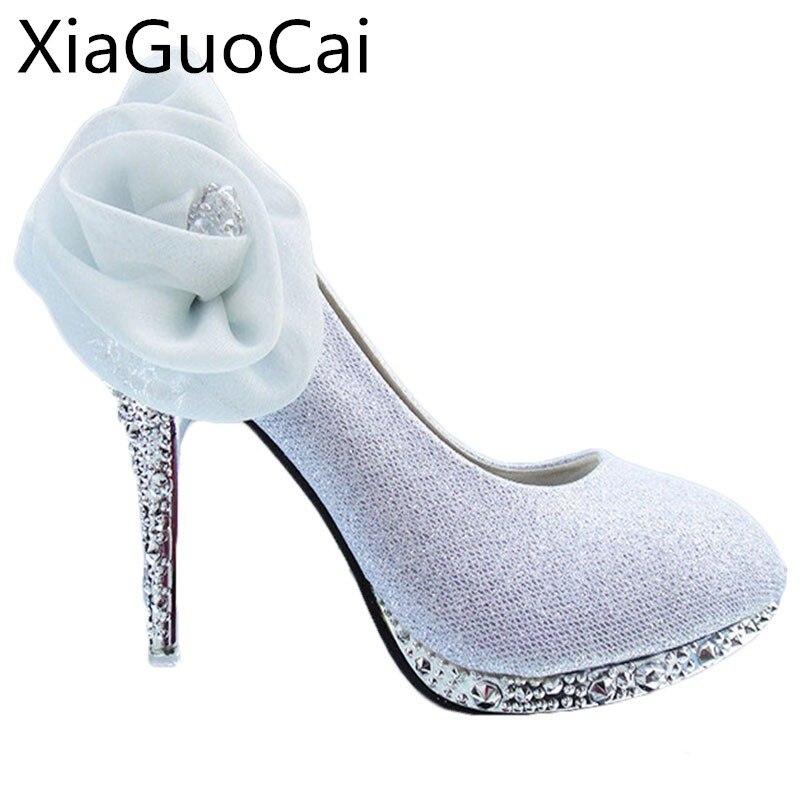 A Big Flower Fashion Women Bridal Shoes High Heels  Rhinestone Party Shoes Wedding Shoes For Women X483 50 sorbern fashion women crystal slippers 8cm heels rhinestone bridal wedding shoes hot sale sandalia feminina sapatos feminino