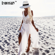 Fashion White Sling V-Neck Backless Sexy White Lace Dress Sleeveless Hollow Out Summer Women Casual Beach maxi Dresses 9530