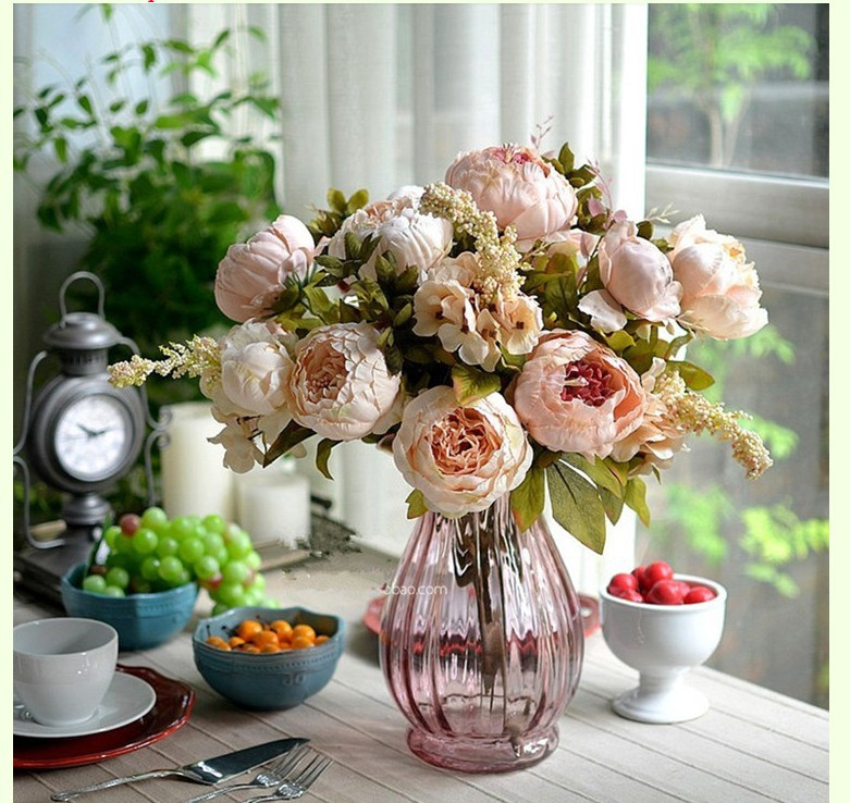1 Bouquet Pink Vintage Artificial flowers 8 head Peony Silk Flower     1 Bouquet Pink Vintage Artificial flowers 8 head Peony Silk Flower Home  Decoration DIY Wedding Party Birthday Free Shipping in Artificial   Dried  Flowers