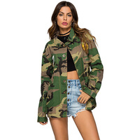 Army Jacket Women 2019 New Arrival Female Army Green Printed Camouflage Jacket Chaquetas Mujer Fall Jackets For Women Coat Wq913