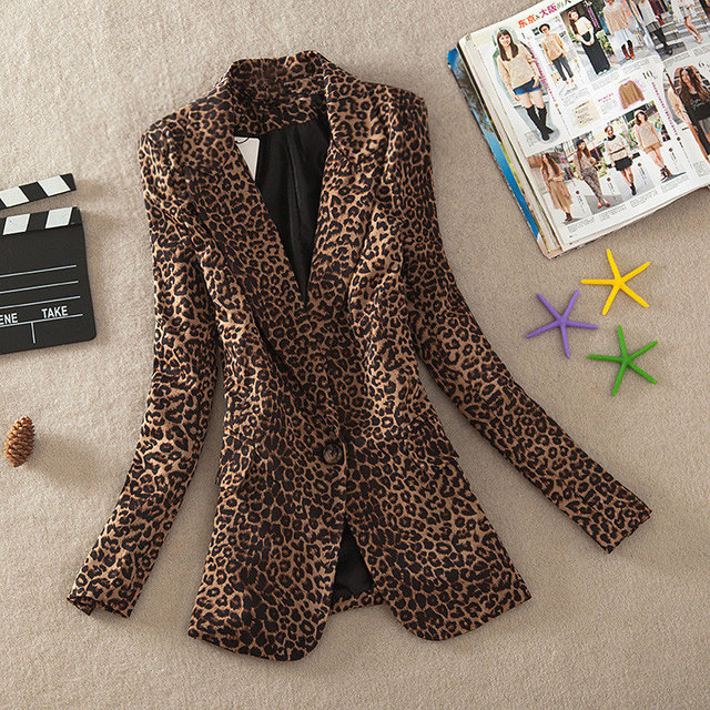 2019 New Women Elegant Leopard Pattern Blazer Spring Autumn Slim Fit Blazer Women Animal Printed Suit Jacket Veste Blazer Femme