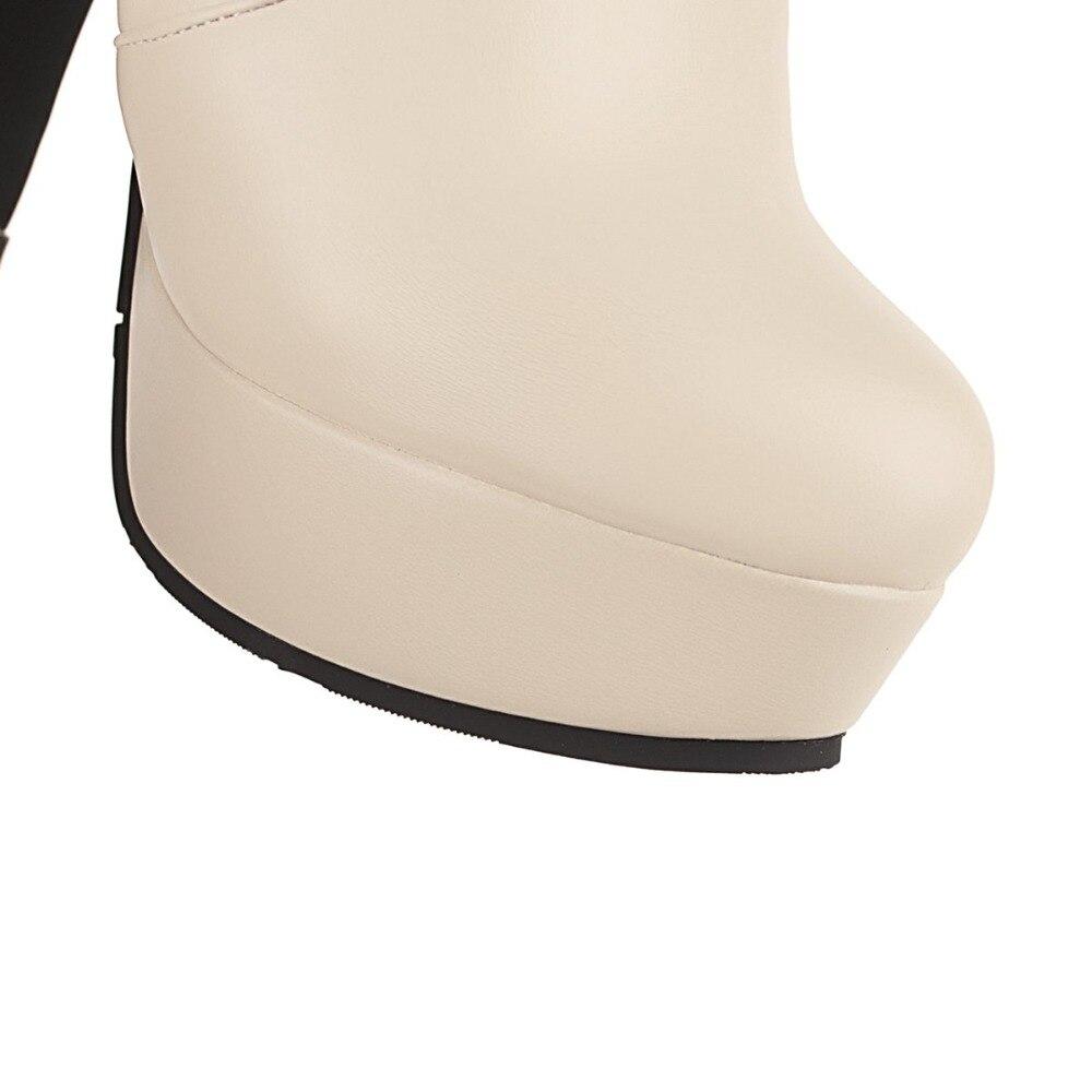 Noir Taille Plus La noir Automne De Blanc Dames Beige Mi Hiver Zipper forme Cristal Luxe blanc Femmes Talons mollet 45 Chaussures Bottes Chevalier Plate 8F5nqB5