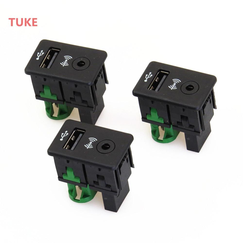 TUKE 3 Pcs USB AUX Data Audio Double switch Socket RCD510 RNS310 For VW PASSAT B6 B7 TIGUAN 3CD 035 249 A 3CD 035 249A