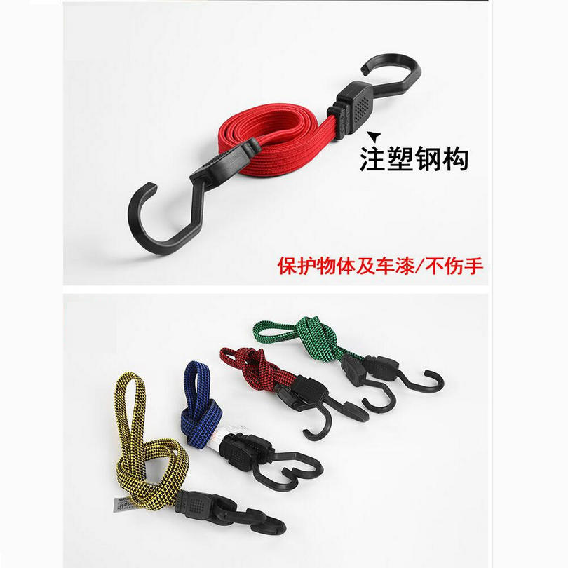 3PCS Stretch Elastic Bungee Cord Hooks Brand Bikes Rope Tie Car Luggage Fixed Straping Roof Rack Strap Double Hooks 40-200MM