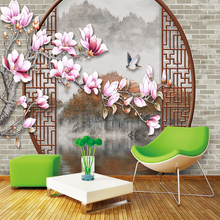 Custom 3d wallpaper Chinese classical flower window landscape background wall - silk waterproof material
