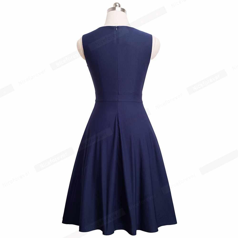 Nice-forever Винтаж элегантное платье с вышивкой, с принтом в виде бабочки, с круглым вырезом; vestidos платье трапециевидной формы платье пинап с Бизнес Для женщин вечерние Flare свободное платье A089