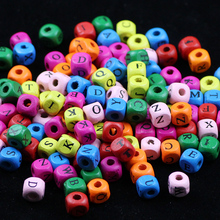 BTFBES 8/10mm Square Mixed color Letter wooden beads 100Pcs wood spacer losoe for Jewelry Bracelet Making DIY accessories