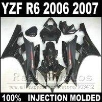 Новые пластиковые части для YAMAHA R6 обтекатель комплект 06 07 литья под давлением матовый и глянцевый черный 2006 2007 YZF R6 обтекатели