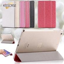Kisscase mini1 mini2 mini3 soporte case case de cuero elegante delgado de seda lisa para ipad mini 1 2 retina 3 tirón de la cubierta del bolso de la bolsa