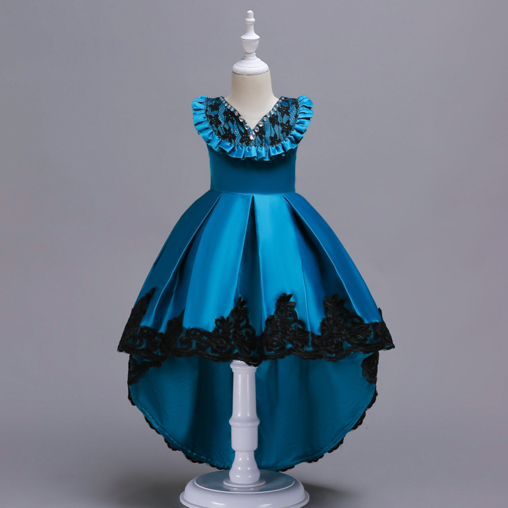 For 3 16 Years Halloween Girls peacock blue Trailing Dress Princess Party Frocks For Wedding Birthday Dresses vestidos costumes